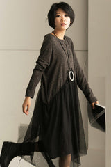 FantasyLinen Women Loose Literary Dress With Gauzy, Plus Size Casual Dress Q701A