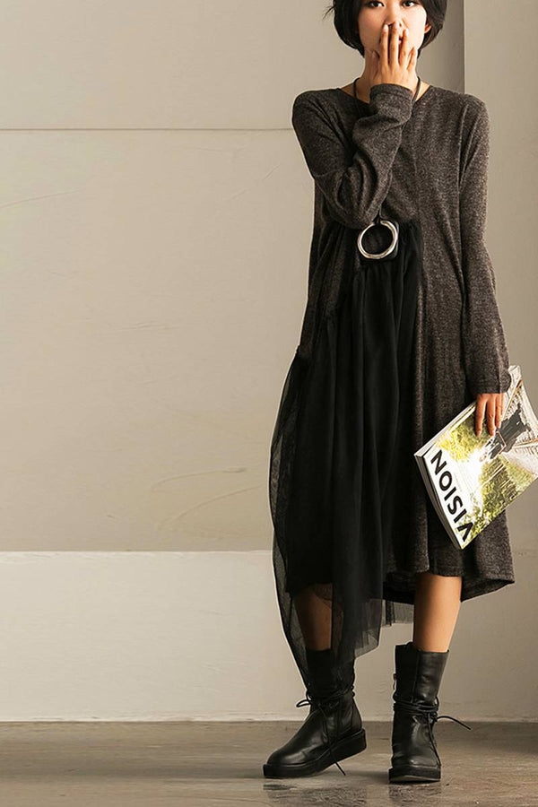 FantasyLinen Women Loose Literary Dress With Gauzy, Plus Size Casual Dress Q701A - FantasyLinen