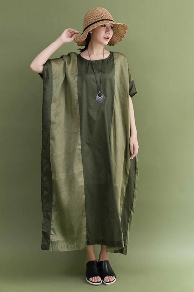 Summer Silk Linen Green Plus Size Casual Loose Fitting Long Dresses For Women
