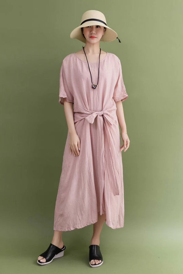 Summer Linen Pink Bow Waist Plus Size Casual Loose Fitting Long Maxi Dresses For Women