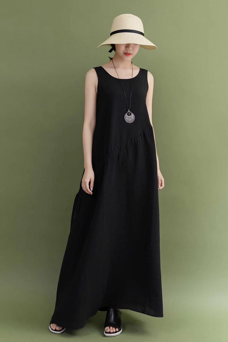 599117a102d Summer Black Cotton Linen Sleeveless Casual Loose Fitting Long Maxi ...
