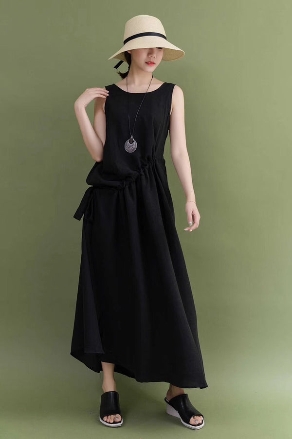 Summer Black Cotton Linen Sleeveless Casual Loose Fitting Long Maxi Dresses For Women