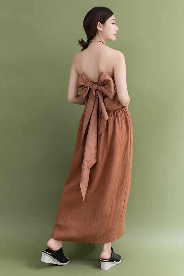 Summer Holiday Coffee Tee Sexy Linen Long Maxi Dresses For Women