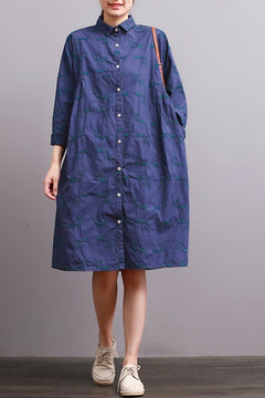 FantasyLinen Literary Embroidered Shirt Dress, Loose Casual Dress in Blue Q3007