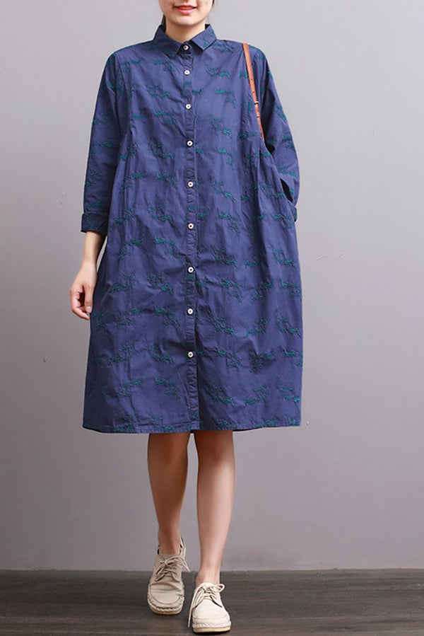 FantasyLinen Literary Embroidered Shirt Dress, Loose Casual Dress in Blue Q3007 - FantasyLinen