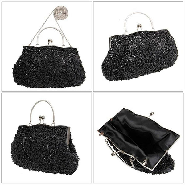 Beaded Sequin Design Metal Frame Kissing Lock Satin Interior Evening Clutch - FantasyLinen