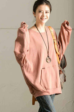 Big Pocket Bat Sleeve Hooded Fleece Jacket For Womens in Pink  R1208B