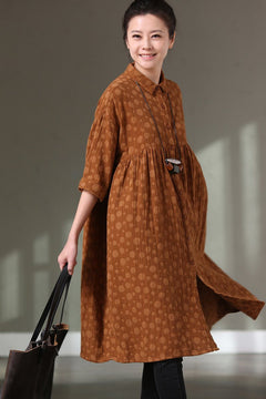 Loose Lovely Dot 3/4 Sleeve Casual Loose Shirt Dresses Q3367A