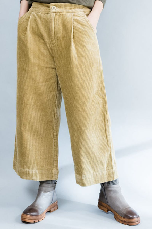 Winter Pants Women's Wide-legged Loose Trousers in Khaki - FantasyLinen