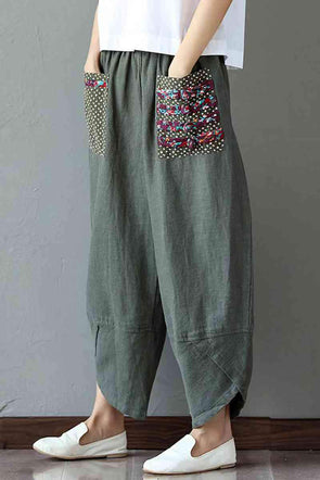 Women's Patchwork Wide Leg Linen Pants Trousers with Big Pockets - FantasyLinen