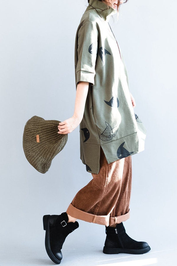 High Collar Fish Printing Loose Five Sleeves Cotton Womens Fleece Dress - FantasyLinen