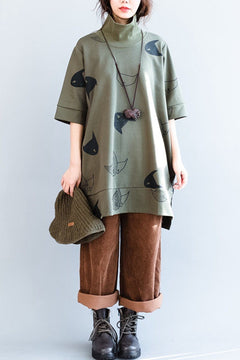 High Collar Fish Printing Loose Five Sleeves Cotton Womens Fleece Dress