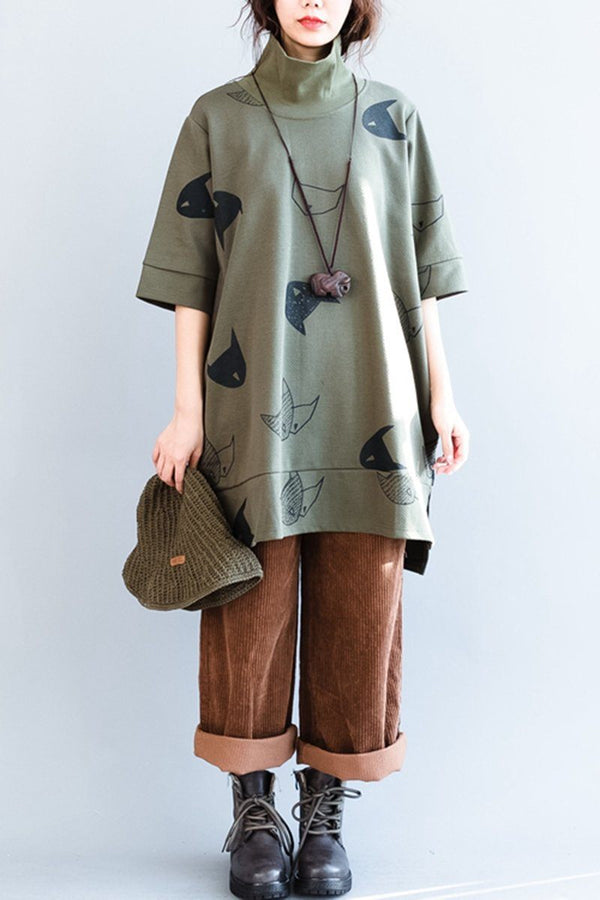 High Collar Fish Printing Loose Cotton Fleece Women Clothes - FantasyLinen