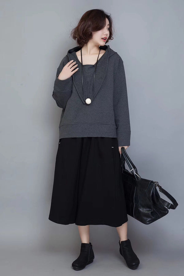 Casual Hoodie Cotton Fleece Women Autumn Tops D9007