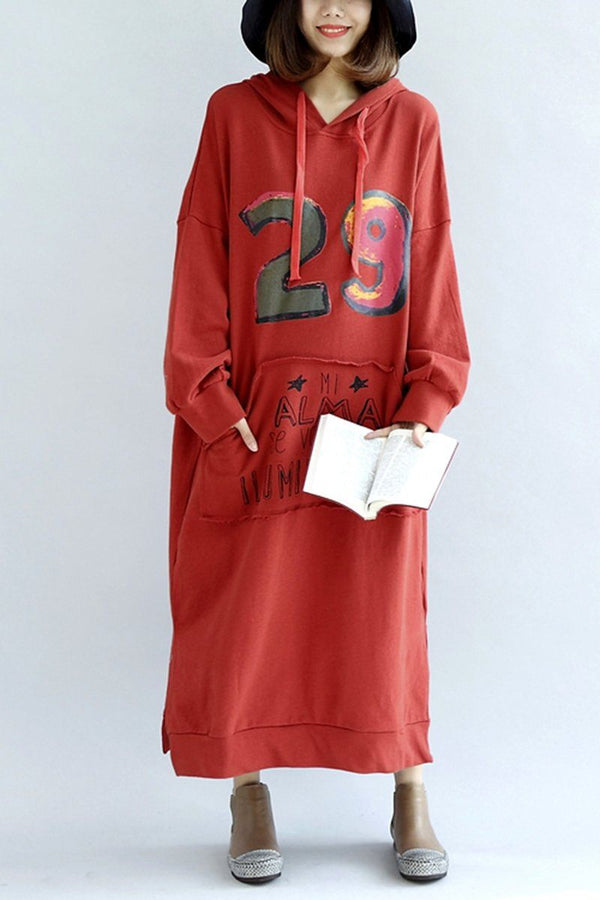 Casual Cotton Loose Plus Size Long Thick Fleece Hoodie Women Dress - FantasyLinen