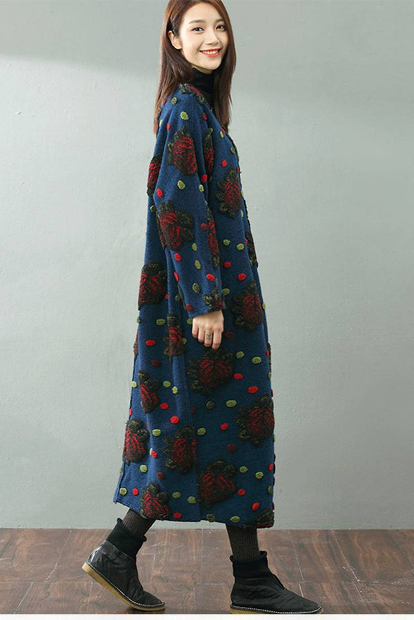 FantasyLinen Floral Wool Loose Warm Dress, Women Literary Dress For Winter Q853 - FantasyLinen
