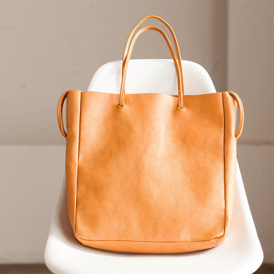 Simply Draw String Handmade Vintage Style Single Shoulder Bag Genuine Leather Travel Women Handbag - FantasyLinen