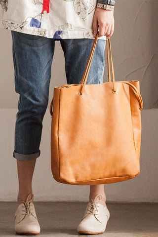 Simply Draw String Handmade Vintage Style Single Shoulder Bag Genuine Leather Travel Women Handbag