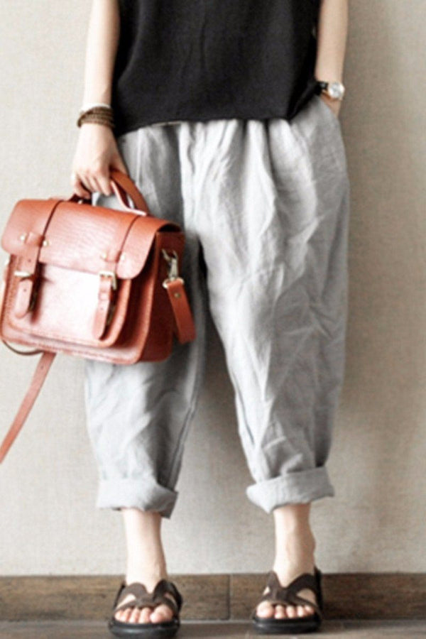 Gray and Orange Purple Turnip Pants Causal Linen Long Pants women Clothes LR465 - FantasyLinen