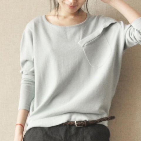 Gray Black Causel Knitwear Long Sleeve Cotton Top Knitted Sweater Women Clothes