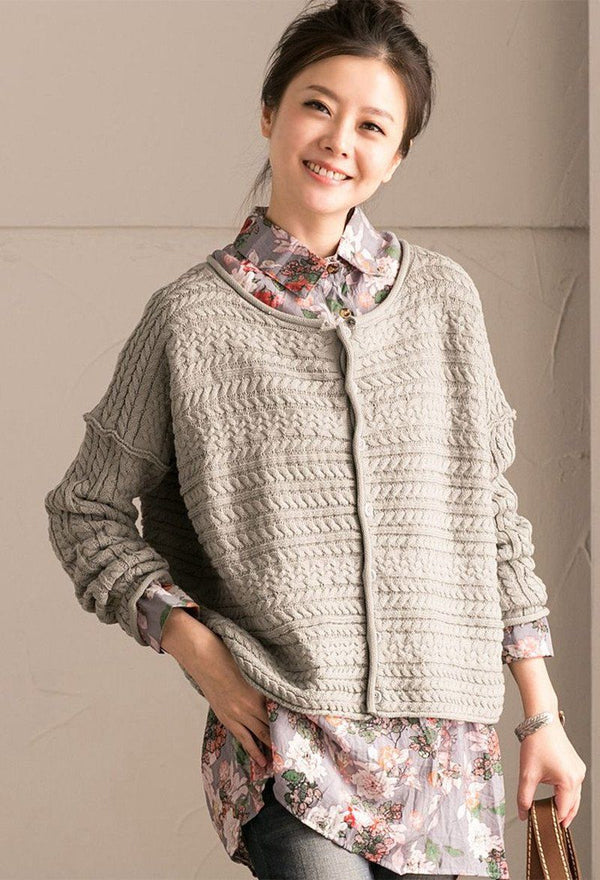 Green Art Simply Casual Round Collar Knit Sweater  Women Clothes Z1331B - FantasyLinen
