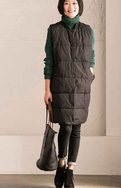 Black Big Size Thicken Vest Winter Coats V2116B
