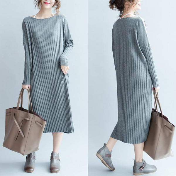Gray stripe Cotton Long Dress Women Tops Q0701A - FantasyLinen