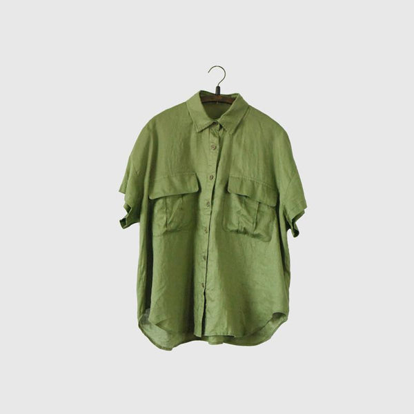 Green Linen Big Pocket Lovely Style T-shirt Women Tops LR0026