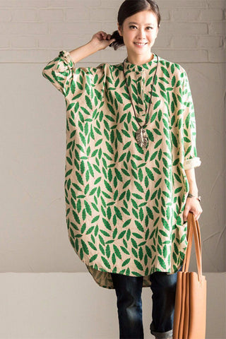 Green Small Leaves Shirt Dress Cotton Linen Casual Women Clothes C670A