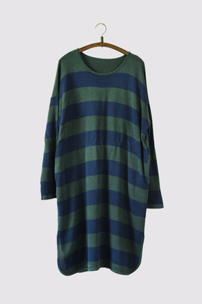 Green Stripe Long Cotton Top Loose Sweater Dress Women Clothes S230A - FantasyLinen