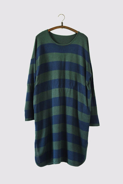 Green Stripe Long Cotton Top Loose Sweater Dress Women Clothes S230A
