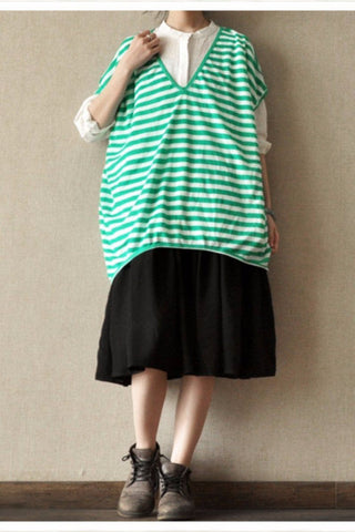 Green Stripe Loose Big Size Cotton T-shirt Top Summer Blouse Women Clothes LR1015