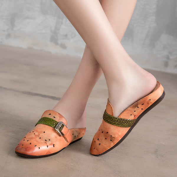 Vintage Handmade Leather Sandals Orange Women Slippers Platform Shoes