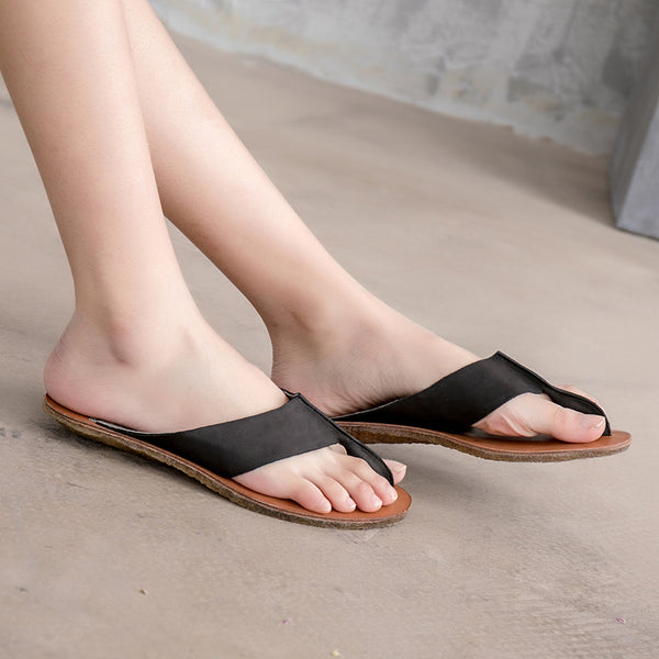 Low Heel Slippers Summer Cow Leather Portable Shoes