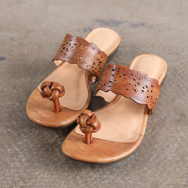 Handmade Women Summer Portable Khaki Slippers Cowhide Leather Sandal