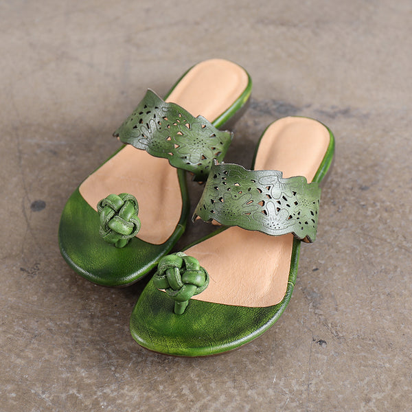 Handmade Women Summer Portable Green Slippers Cowhide Leather Sandal