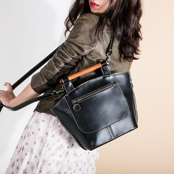 Handmade Natural Cow Leather Handbags, Shoulder Bag For Girls - FantasyLinen