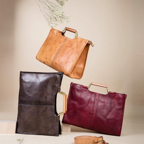 Vintage Full Grain Leather Handbags For Women, Crossbody Bag