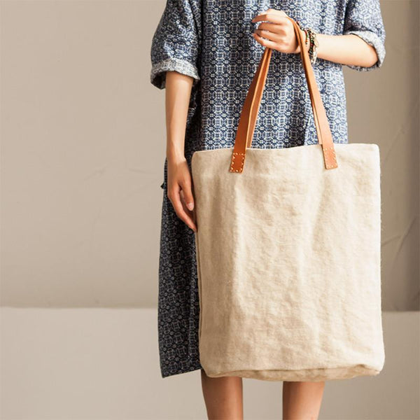 Handmade Cowhide Embroidered Linen Single Shoulder Bag Travel Bag Summer Women Handbag - FantasyLinen