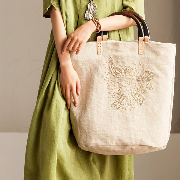 Handmade Embroidered Linen Handbag Travel Bag Summer Women Accessories - FantasyLinen