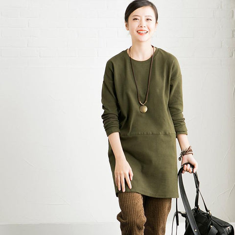 Black/Green/White Hoodie Long Sleeve Fleece Dresses Fitting Women Clothes R860A