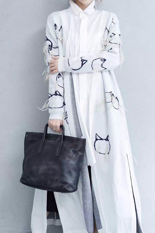 Cartoon Cat Maxi Size Casual Loose Rabbit Wool Long Sweater Dresses Coat Women Clothes W0701A