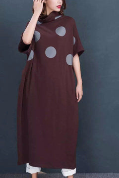 Big Dot Cotton Knit Big Size Warm Long Sweater Dresses Women Clothes D6873A
