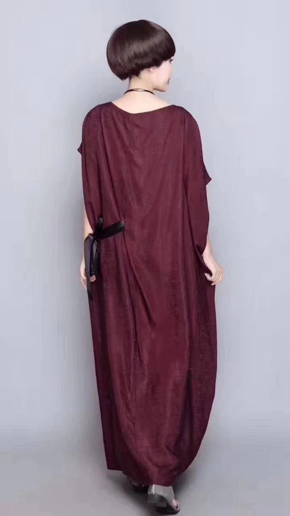 Elegance Red Casual Loose Fitting Maxi Dresses For Women