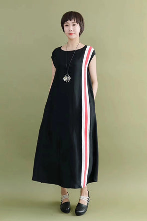 FantasyLinen Summer Silk Linen Sleeveless Black Soft Casual Loose Fitting Long Dresses For Women