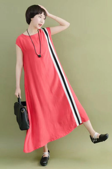 FantasyLinen Summer Silk Linen Sleeveless Red Casual Loose Fitting Long Dresses For Women