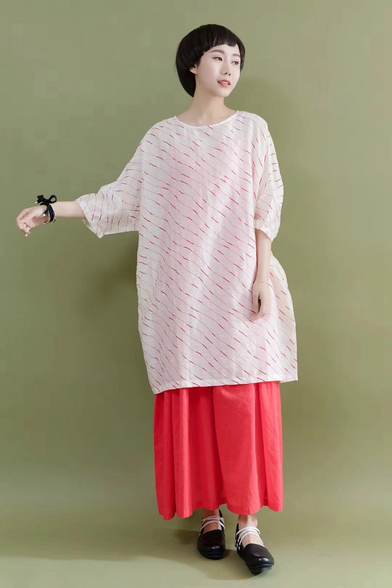 a2f30401068 FantasyLinen Summer Silk Linen Shirt Red Line White Stylish Casual Loose  Fitting Dresses For Women
