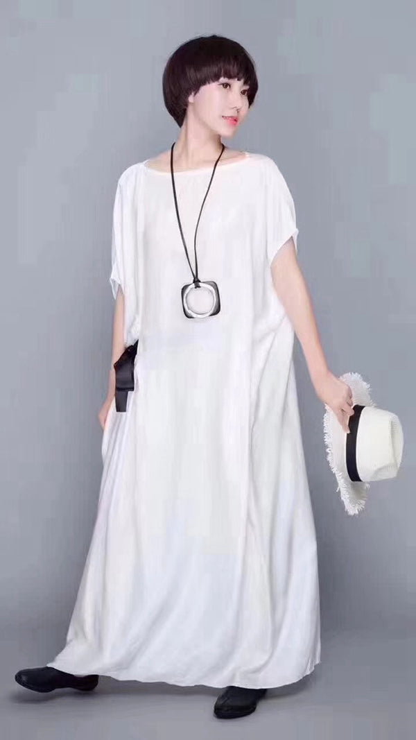 Elegance White Casual Loose Fitting Maxi Dresses For Women