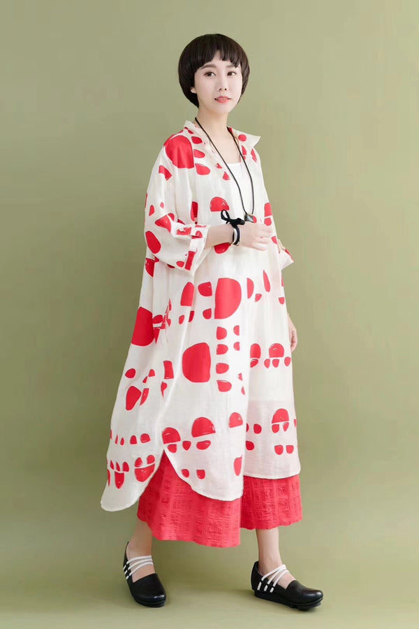 Silk Linen Red Dot Casual Loose Long Dresses For Women 7165