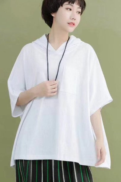 Cotton Hooded Casual Loose T-Shirt Fleece Summer Chic Women Tops